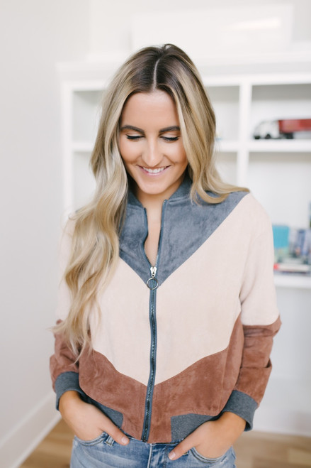 Blossom Boulevard Colorblock Jacket - Charcoal/Blush/Brown
