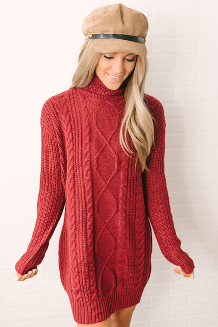 Everly Turtleneck Cable Knit Sweater Dress - Burgundy