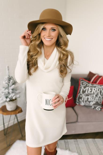 Everly Belle Cowl Neck Knit Dress - Cream
