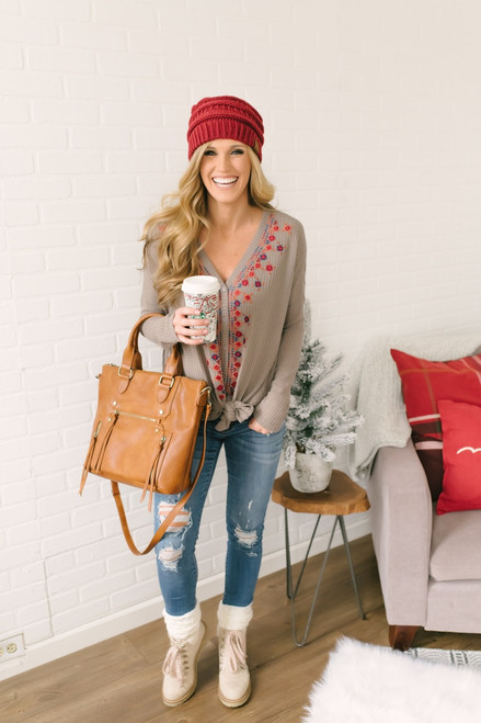 Embroidered Button Down Waffle Knit Knot Top - Mocha Multi