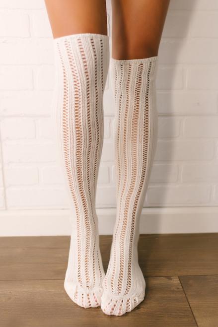 Free People Woodland Pointelle Socks - Ivory