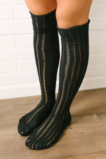 Free People Woodland Pointelle Socks - Black