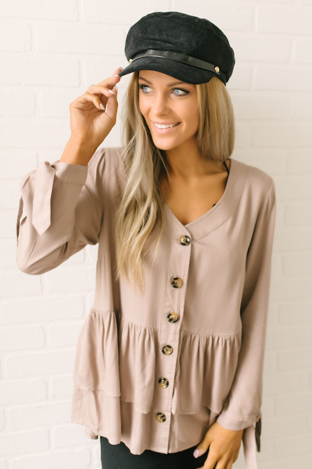 Emberly Button Down Tiered Babydoll Top - Latte