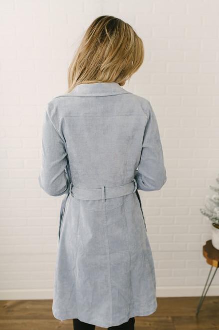 Tie Waist Button Down Corduroy Jacket - Dusty Blue