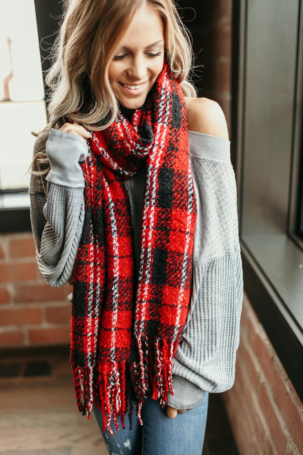 Free People Emerson Plaid Scarf - Red Combo