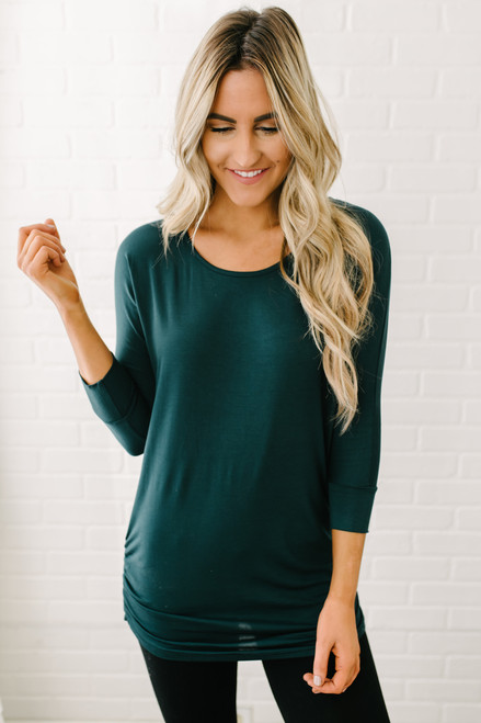 Signature Slouchy Dolman Top - Hunter Green
