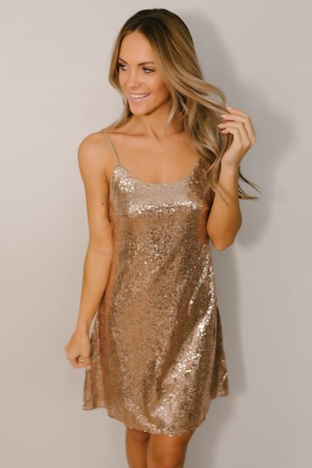 Puttin' on the Ritz Sequin Dress - Rose Gold