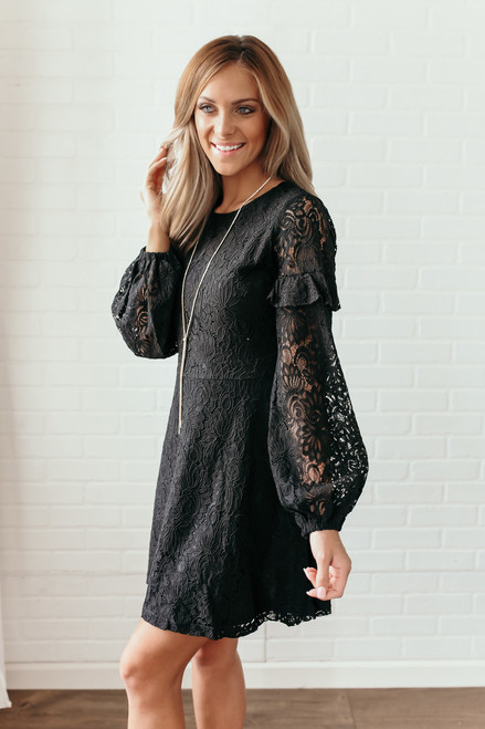 Everly Ruffle Fit & Flare Lace Dress - Black