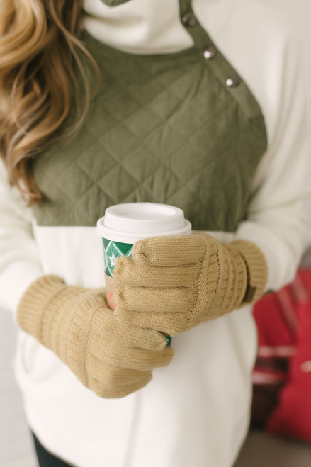 Solid Knit Touchscreen Gloves - Camel