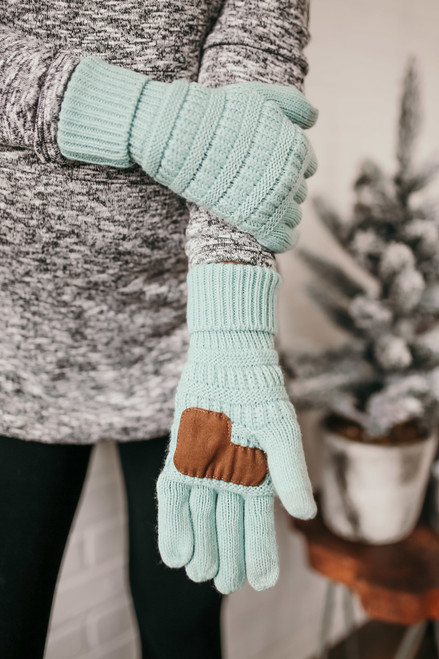Solid Knit Touchscreen Gloves - Mint