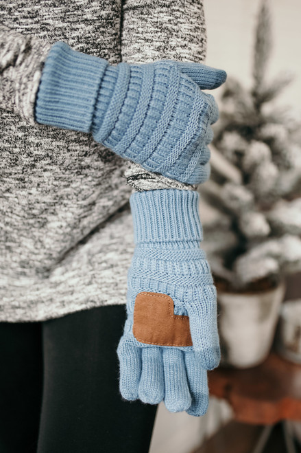 Solid Knit Touchscreen Gloves - Light Blue