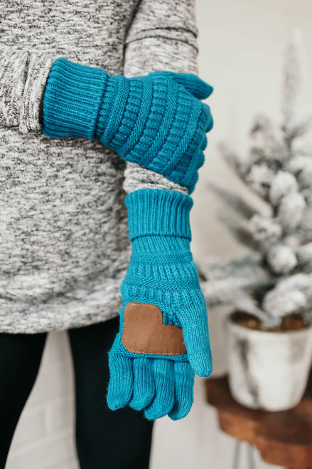 Solid Knit Touchscreen Gloves - Teal