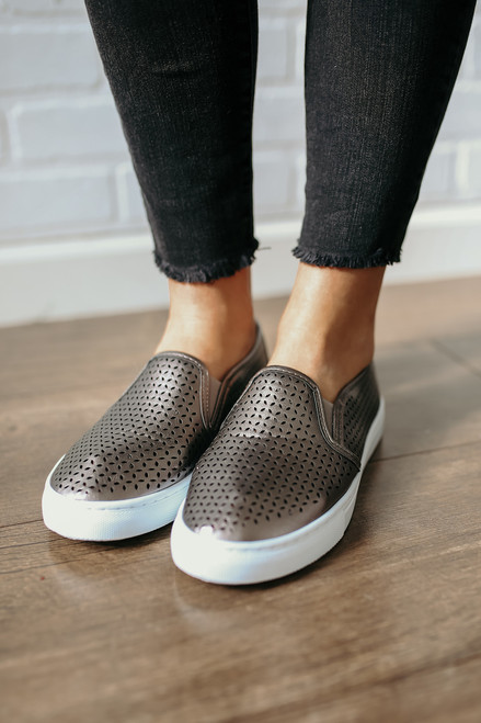 MIA Edith Perforated Slip On Sneakers - Pewter