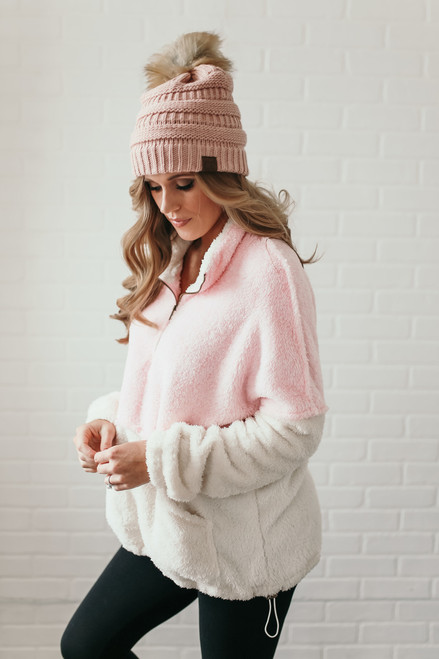 Snow Bunny Colorblock Pullover - Pink/Ivory