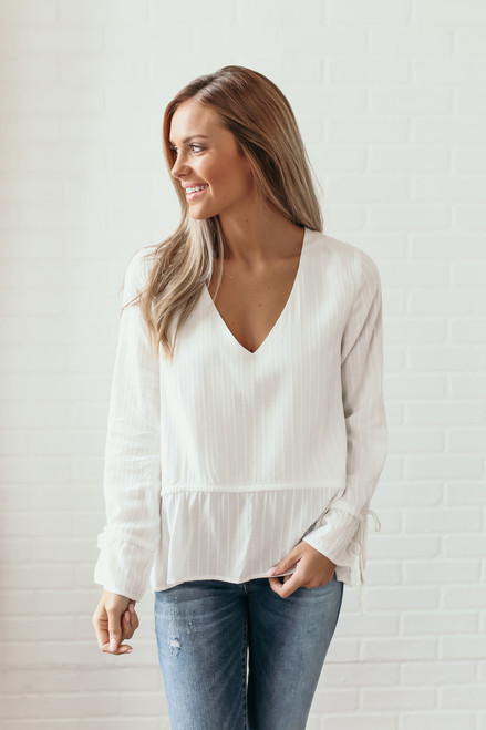 V-Neck Embroidered Tie Waist Top - Off White