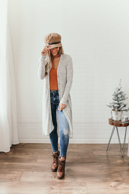 Button Down Ribbed Duster Cardigan - Heather Grey