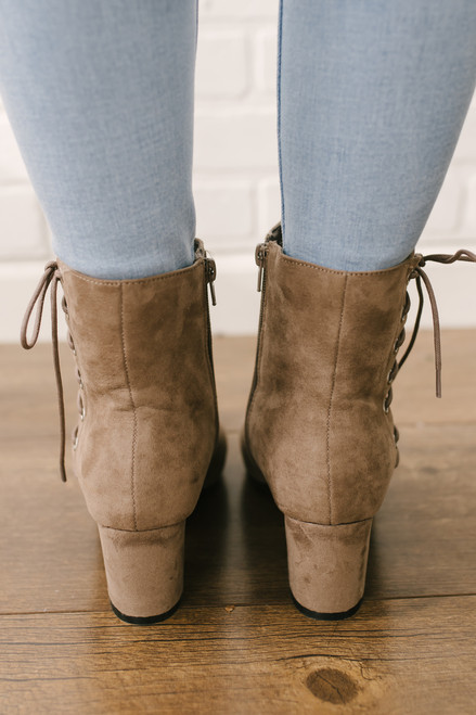 Midtown Faux Suede Lace Up Booties - Taupe