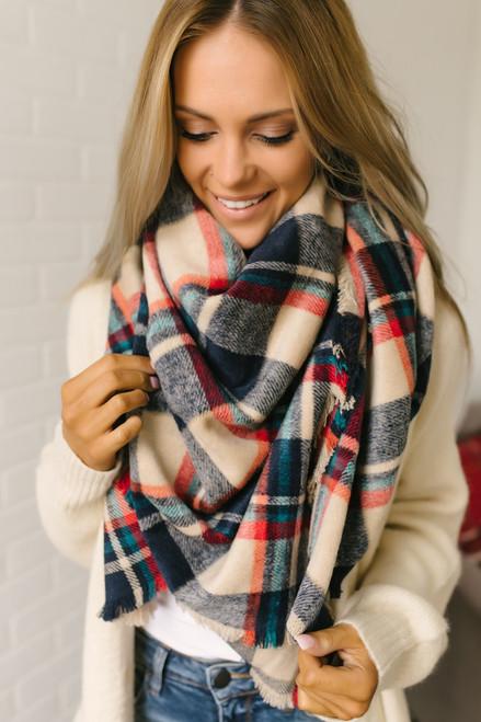 Plaid Blanket Scarf - Beige/Navy/Red/Teal