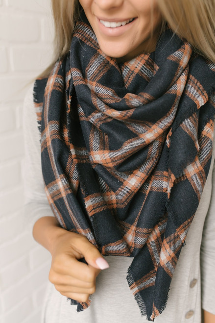 Plaid Blanket Scarf - Navy/Orange/Grey
