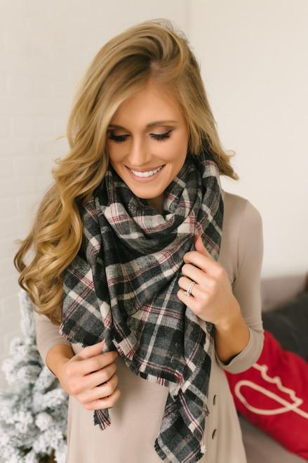 Plaid Blanket Scarf - Black/Grey/Burgundy