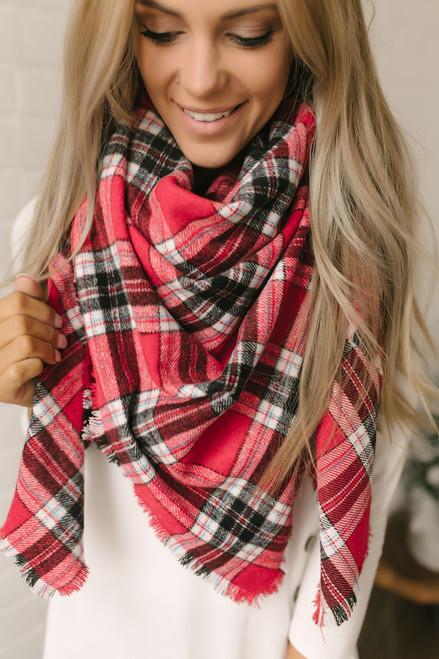 Plaid Blanket Scarf - Red/Black/White