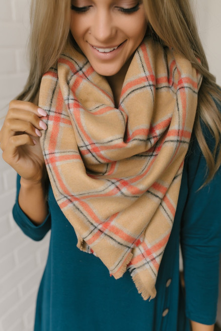 Plaid Blanket Scarf - Camel/Orange/Grey
