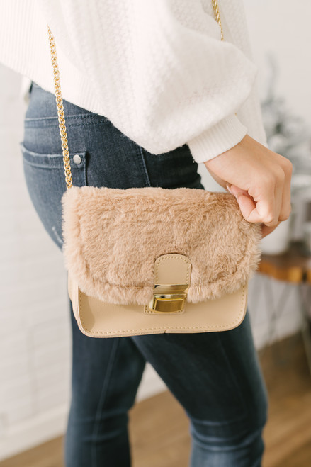 Cinderella Story Faux Fur Crossbody Bag - Beige