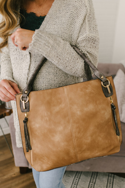 Italian Countryside Distressed Handbag - Tan