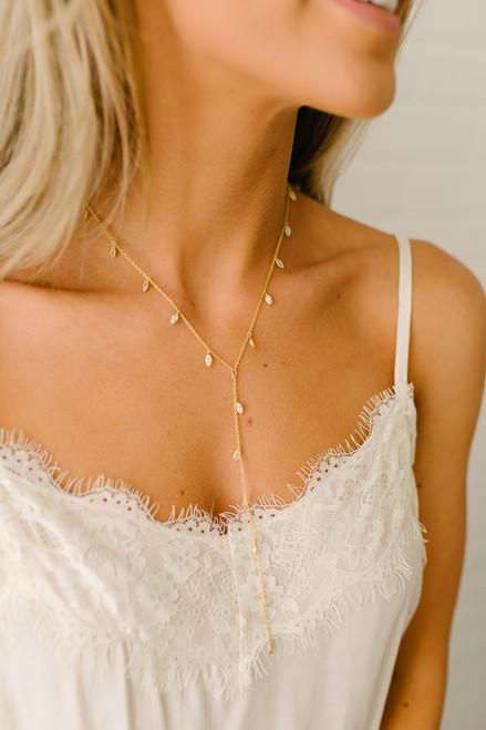 Y Droplet Necklace - Gold