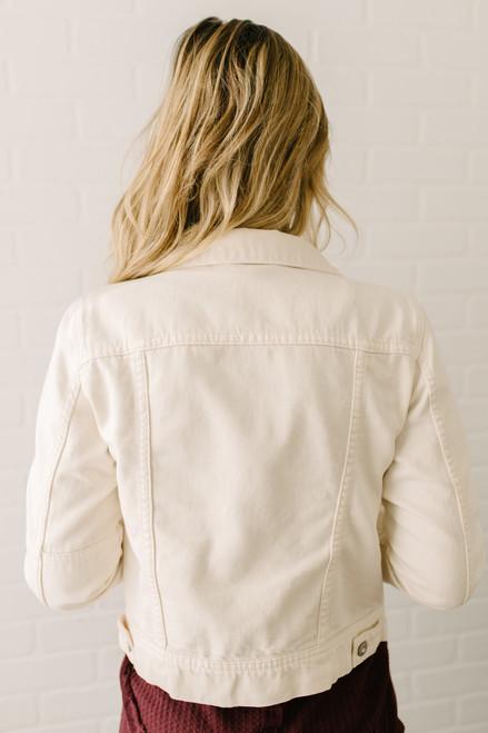 Free People Rumors Denim Jacket - Ivory