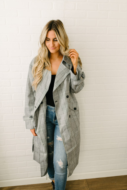 Glen Plaid Tie Waist Jacket - Grey Multi