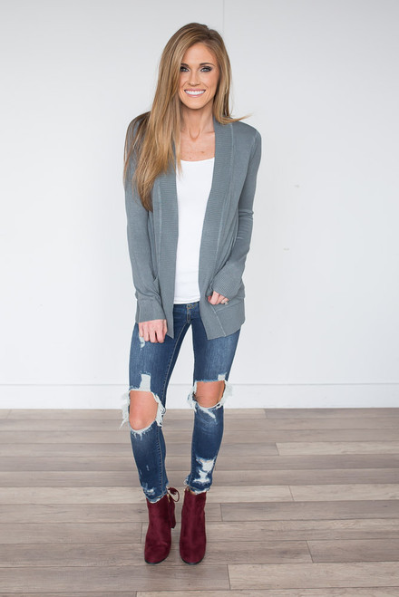 Down By The Bay Knit Cardigan - Charcoal