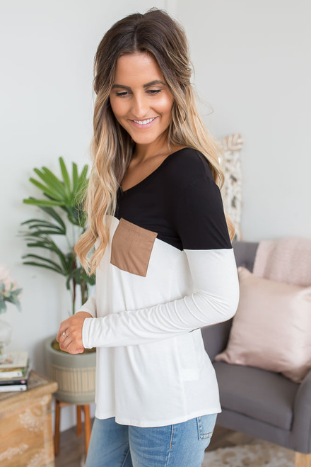Color Block Tunic With Elbow Patch - Black/White - FINAL SALE