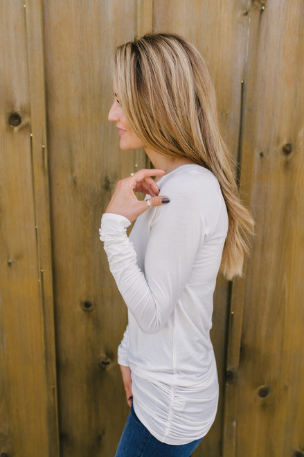 Long Sleeve Ruched Knit Tunic - Ivory