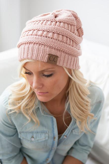 Knit Beanie - Light Pink - FINAL SALE