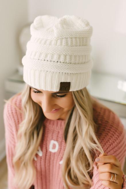 Knit Beanie - Ivory