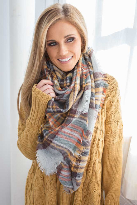 Plaid Blanket Scarf - Mustard Multi - FINAL SALE