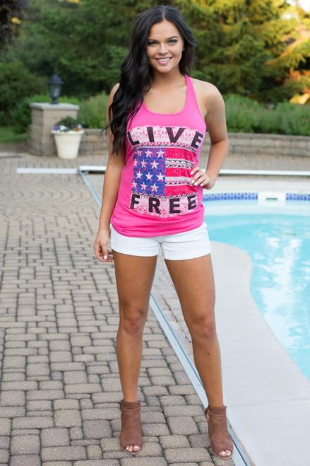 Live Free Americana Tank - Pink