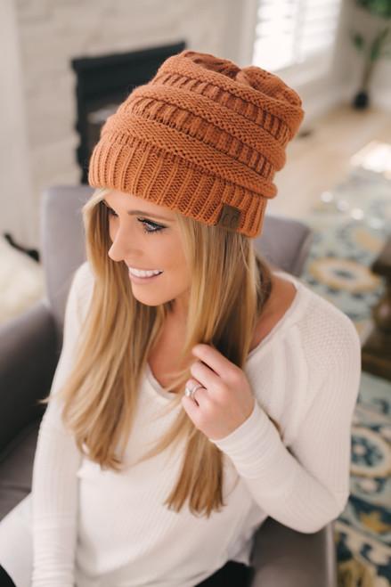 Knit Beanie - Rust