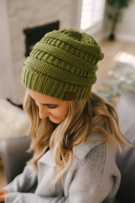 Knit Beanie - Olive Green