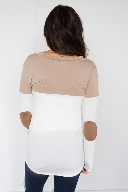 Color Block Tunic With Elbow Patch - Mocha/White - FINAL SALE