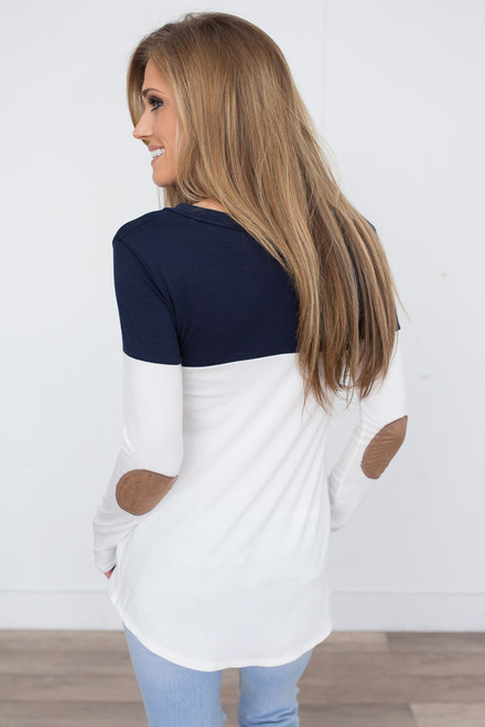 Color Block Tunic With Elbow Patch - Navy/White