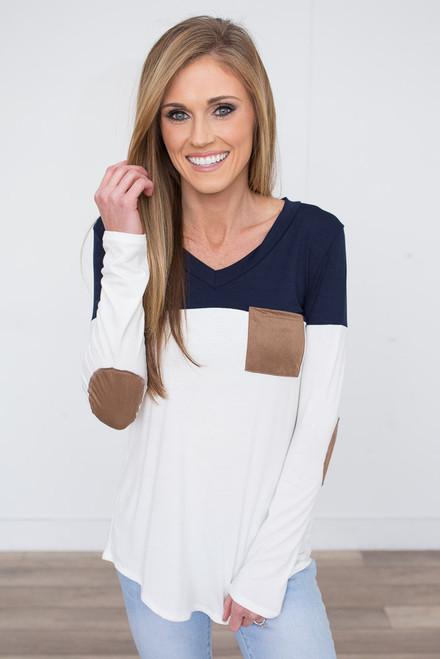 Color Block Tunic With Elbow Patch - Navy/White -FINAL SALE