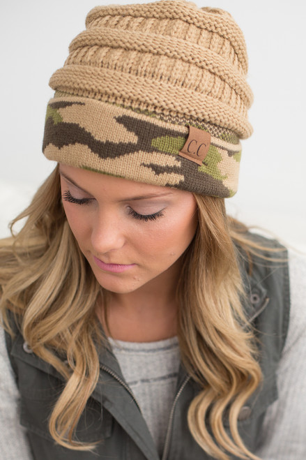 Camo Cuffed Knit Beanie - Camel Multi - FINAL SALE