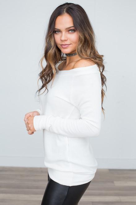 Off the Shoulder Pullover - Ivory - FINAL SALE