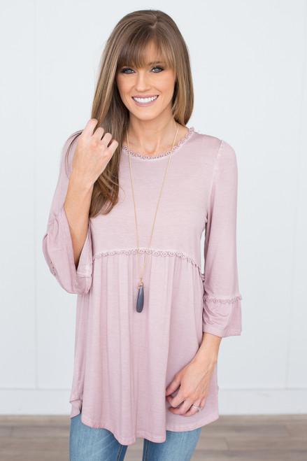 3/4 Sleeve Babydoll Tunic - Dusty Pink
