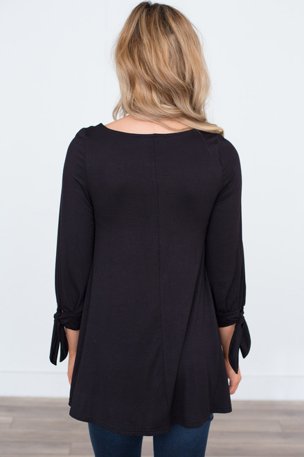 Tie Sleeve Contrast Stitch Tunic - Black