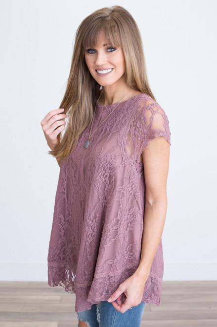 Short Sleeve Lace Tunic - Mauve