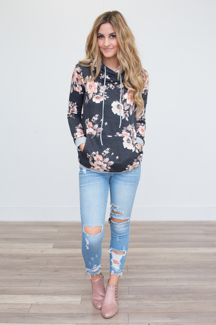 Floral Print Hooded Sweatshirt - Charcoal/Peach - FINAL SALE