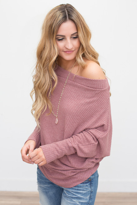 Off the Shoulder Waffle Knit Top - Mauve